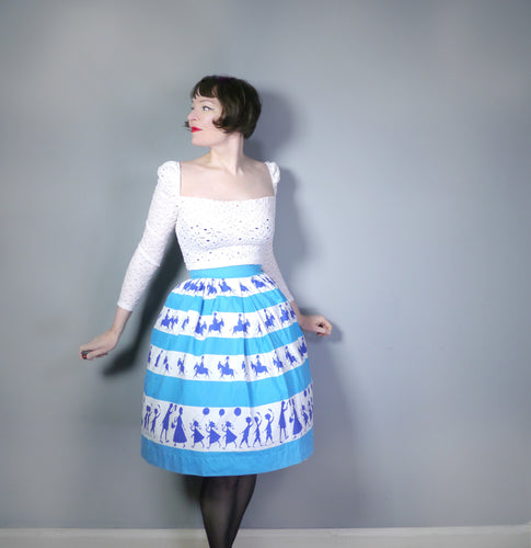 50s ST MICHAEL NOVELTY SKIRT IN BLUE STRIPE PRINT WITH GREETING BOYS AND GIRLS - XS-S