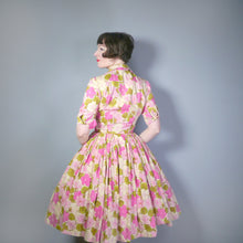 Load image into Gallery viewer, VINTAGE 50s PINK FLORAL SHIRTWAISTER WITH FULL SKIRT - S