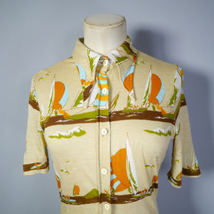 70s NOVELTY SAILBOAT SUMMER STRETCH JERSEY VINTAGE SHIRT - XS-S