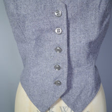 Load image into Gallery viewer, 70s 80s GREY WOOL FITTED LADIES WAISTCOAT - M