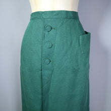 Load image into Gallery viewer, GREEN 40s MOYGASHEL LINEN FITTED WRAP PENCIL SKIRT WITH BUTTONS AND POCKET - 28""