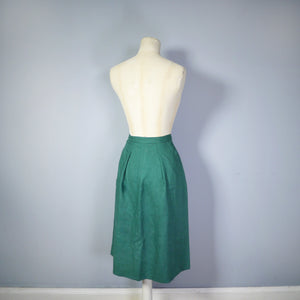 GREEN 40s MOYGASHEL LINEN FITTED WRAP PENCIL SKIRT WITH BUTTONS AND POCKET - 28""