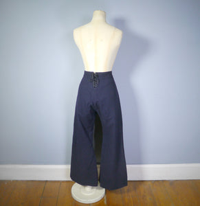 40s style HIGH WAISTED LACE UP WIDE LEG SAILOR / NAUTICAL TROUSERS / PANTS - S-M