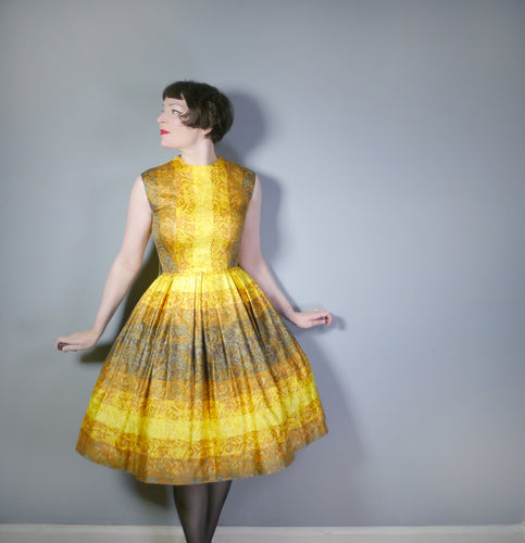 RICHARD SHOPS VINTAGE 50s OMBRE GOLDEN YELLOW AND BROWN FULL SKIRTED DRESS - S