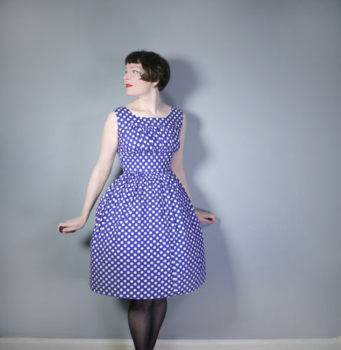 50s VINTAGE BLUE WHITE POLKA DOT COTTON DAY DRESS WITH EMPIRE BUST - S