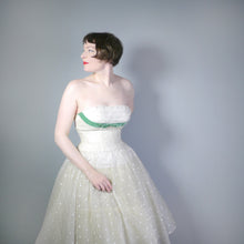 Load image into Gallery viewer, WINTERY 50s WHITE AND SILVER SHEER PARTY DRESS WITH RUFFLED SHELF BUST AND FULL SKIRT - XS
