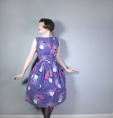 VINTAGE 50s MIDNIGHT BLUE FLORAL ROSE AND SPATTER PRINT COTTON DAY DRESS - S