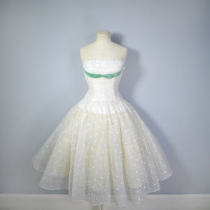 WINTERY 50s WHITE AND SILVER SHEER PARTY DRESS WITH RUFFLED SHELF BUST AND FULL SKIRT - XS