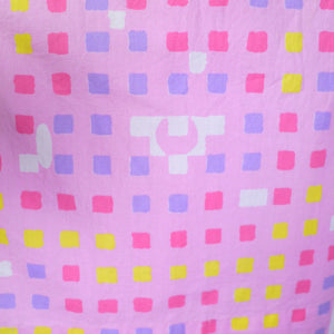"50s 60s ""BANNER"" PINK COTTON DAY DRESS WITH PASTEL COLOURED SQUARE PRINT - S"