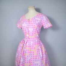 "Load image into Gallery viewer, 50s 60s ""BANNER"" PINK COTTON DAY DRESS WITH PASTEL COLOURED SQUARE PRINT - S"