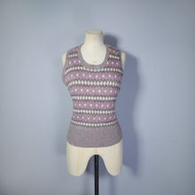 Load image into Gallery viewer, GREY HANDKNITTED FAIRISLE TANK TOP / SLEEVELESS JUMPER - M