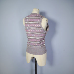 GREY HANDKNITTED FAIRISLE TANK TOP / SLEEVELESS JUMPER - M