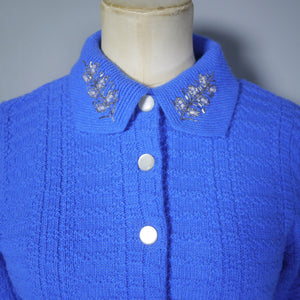 BLUE 50s 'DUPONT' ORLON SWEATER GIRL CARDIGAN WITH EMBELLISHED COLLAR - S