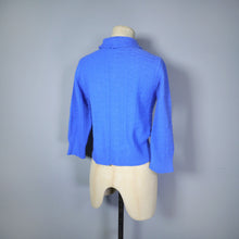 Load image into Gallery viewer, BLUE 50s 'DUPONT' ORLON SWEATER GIRL CARDIGAN WITH EMBELLISHED COLLAR - S