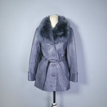 Load image into Gallery viewer, BOHEMIAN GREY 70s LEATHER JACKET WITH BELT AND FLUFFY SHEEPSKIN COLLAR - S
