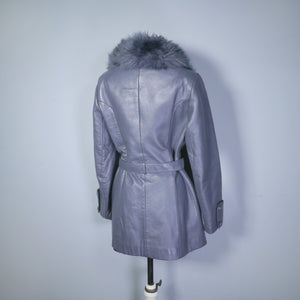 BOHEMIAN GREY 70s LEATHER JACKET WITH BELT AND FLUFFY SHEEPSKIN COLLAR - S
