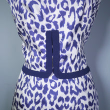 Load image into Gallery viewer, VINTAGE 60s SUSAN SMALL LEOPARD ANIMAL PRINT BLUE WHITE SHIFT DRESS - S