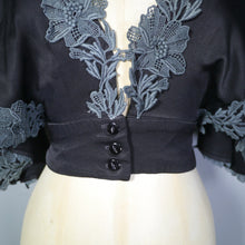 Load image into Gallery viewer, 70s SILKY BLACK DECO STYLE CROPPED BLOUSE WITH PLUNGING NECKLINE AND CAPE SLEEVE BY MUSHROOM - XS-S