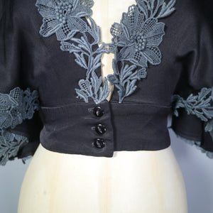 70s SILKY BLACK DECO STYLE CROPPED BLOUSE WITH PLUNGING NECKLINE AND CAPE SLEEVE BY MUSHROOM - XS-S