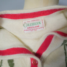 Load image into Gallery viewer, COLEBROOK FLORAL RED TULIP INTARSIA 50s 60s SWEATER GIRL CARDIGAN - S-M