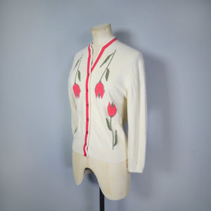 COLEBROOK FLORAL RED TULIP INTARSIA 50s 60s SWEATER GIRL CARDIGAN - S-M