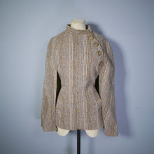 Load image into Gallery viewer, EARTHY BROWN STRIPED VINTAGE WELSH WOOL CAPE / CLOAK COAT - S-M