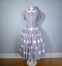 Load image into Gallery viewer, 50s 2 PIECE HALTER SUN DRESS AND BOLERO IN FLORAL EMBROIDERED GINGHAM - S