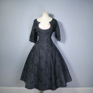 BLACK EMBROIDERED 50s EVENING DRESS WITH PASTEL CHIFFON PEEKABOO BUST - S