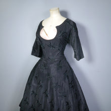 Load image into Gallery viewer, BLACK EMBROIDERED 50s EVENING DRESS WITH PASTEL CHIFFON PEEKABOO BUST - S