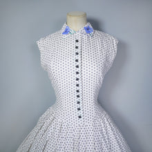 Load image into Gallery viewer, BLANES 50s BLUE FLORAL BORDER PATTERN FULL SKIRTED COTTON DRESS - S