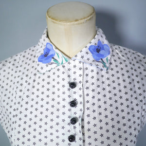 BLANES 50s BLUE FLORAL BORDER PATTERN FULL SKIRTED COTTON DRESS - S