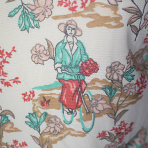 70s VINTAGE WRANGLER NOVELTY SHIRT WITH CYCLING LADY PRINT - S