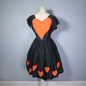 VINTAGE COSTUME / THEATRICAL LOVE HEART APPLIQUE SKATER DRESS - S