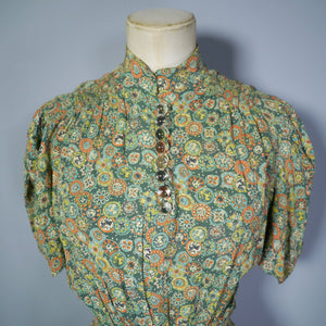 GREEN 30s 40s NOVELTY PRINT TEA DRESS WITH GLASS BALL BUTTONS AND PUFF SLEEVE - S