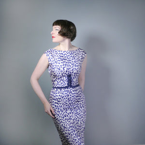 VINTAGE 60s SUSAN SMALL LEOPARD ANIMAL PRINT BLUE WHITE SHIFT DRESS - S