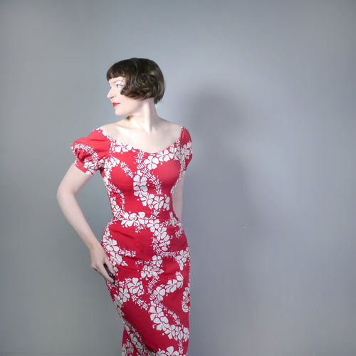 50s ALFRED SHAHEEN HAWAIIAN RED AND WHITE FLORAL WIGGLE MAXI DRESS - M