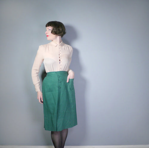 GREEN 40s MOYGASHEL LINEN FITTED WRAP PENCIL SKIRT WITH BUTTONS AND POCKET - 28
