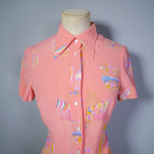 Load image into Gallery viewer, 70s 80s PINK SILK PASTEL NOVELTY FETE / CARNIVAL PRINT SHIRT / MICRO MINI DRESS - S