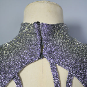 70s 80s VINTAGE METALLIC SILVER LUREX KNIT DRESS WITH CUT OUT WEB BACK WITH SEQUIN FLY - S-M