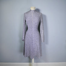 Load image into Gallery viewer, 70s 80s VINTAGE METALLIC SILVER LUREX KNIT DRESS WITH CUT OUT WEB BACK WITH SEQUIN FLY - S-M