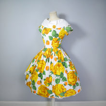 Load image into Gallery viewer, YELLOW FLORAL 50s DRESS WITH SHAWL COLLAR AND FULL SKIRT - XS-S / PETITE FIT