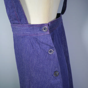 70s ST MICHAEL PINAFORE A-LINE DENIM SUSPENDER / BRACES SKIRT - S
