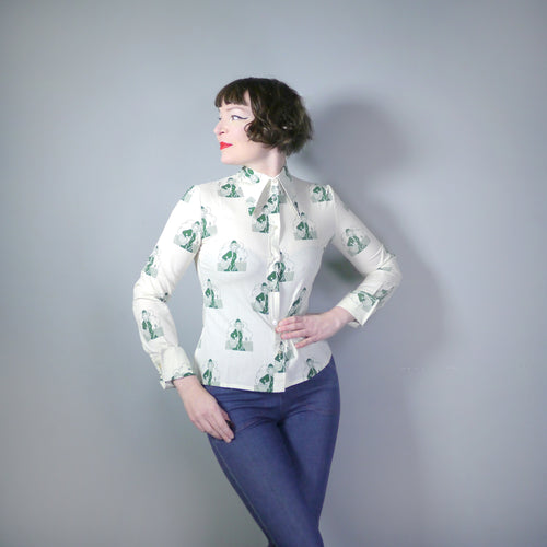 70s NOVELTY DAGGER COLLAR SHIRT WITH GREEN LADY PRINT - S