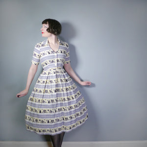 FRED HOWARD 40s 50s NOVELTY PRINT GREY AND YELLOW FENCE AND WOODLAND PRINT DRESS - S