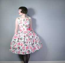 Load image into Gallery viewer, 50s ROMANTIC PINK ROSE FLORAL DROP WAIST DRESS WITH FULL SKIRT - S