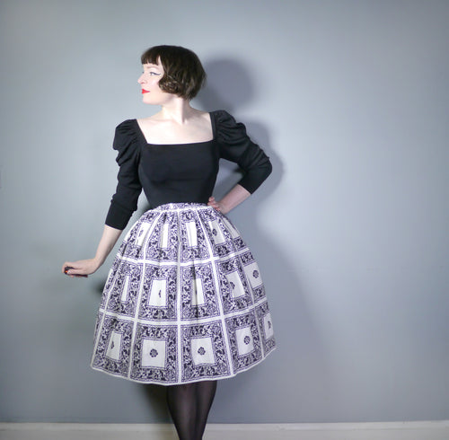 KEYNOTE 50s MONOCHROME SKIRT WITH FRAMED FLORAL PATTERN - 25-26
