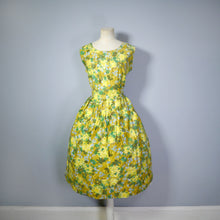 Load image into Gallery viewer, YELLOW AND GREEN 50s PAINTERLY FLORAL COTTON DAY DRESS - VOLUP / L