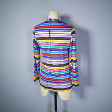Load image into Gallery viewer, COLOURFUL RAINBOW STRIPE 60s 70s TUNIC / T-SHIRT TOP - S