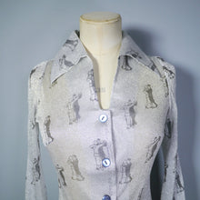 Load image into Gallery viewer, 70s GLITTERY SILVER LUREX DISCO SHIRT IN DANCING ART DECO COUPLE PRINT - XS-S