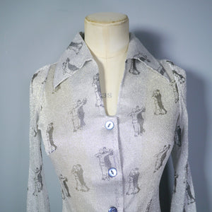70s GLITTERY SILVER LUREX DISCO SHIRT IN DANCING ART DECO COUPLE PRINT - XS-S